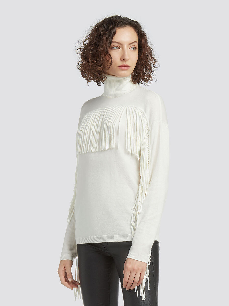 Wool blend polo neck pullover with fringing