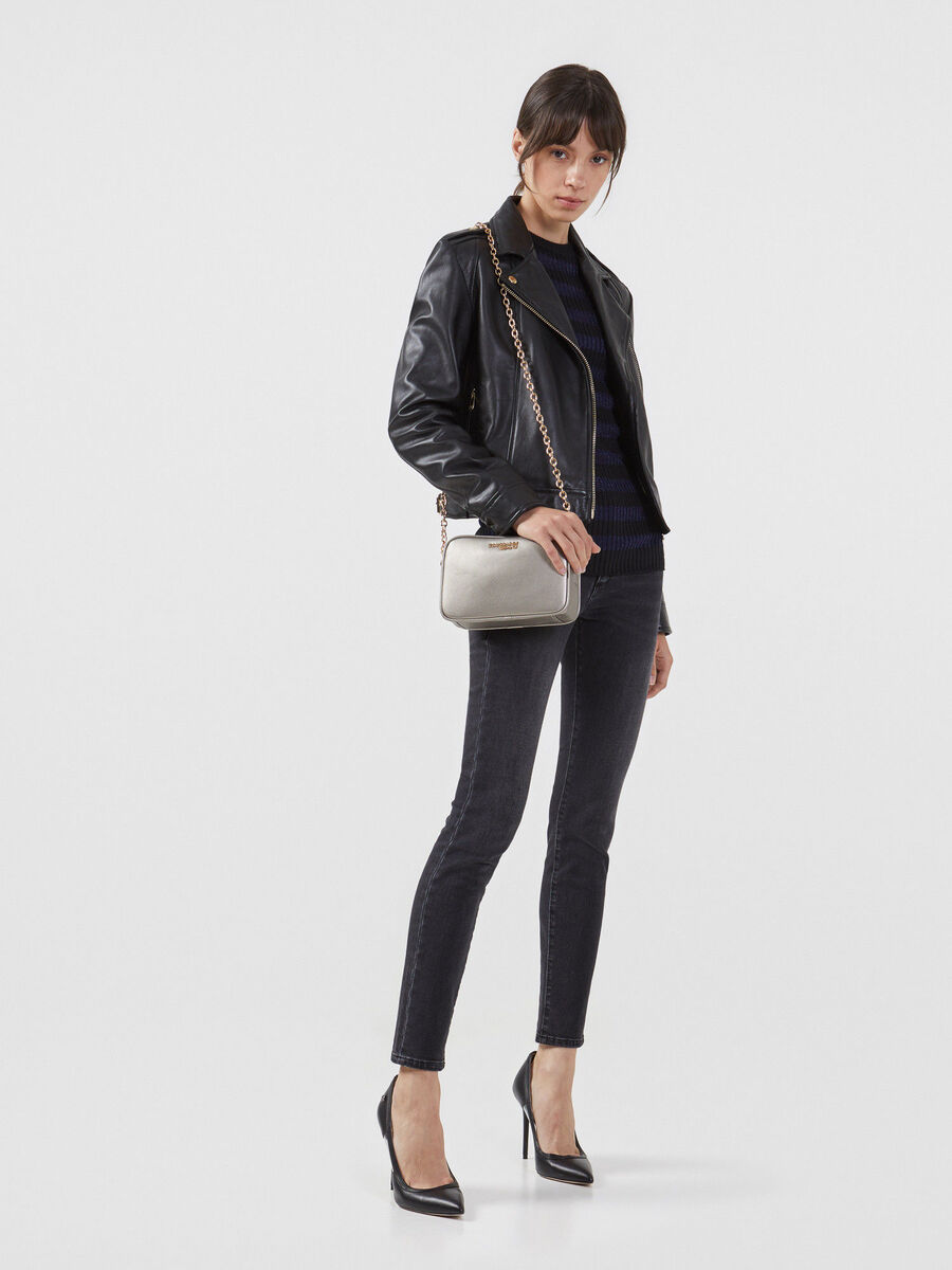 Biker jacket in soft touch leather with zip