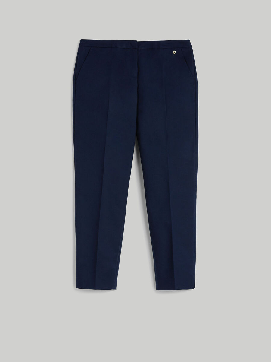 Cropped double cotton trousers