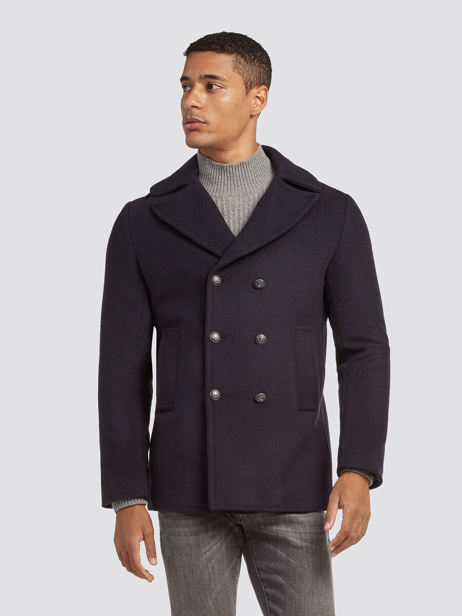 Regular fit double breasted wool pea coat