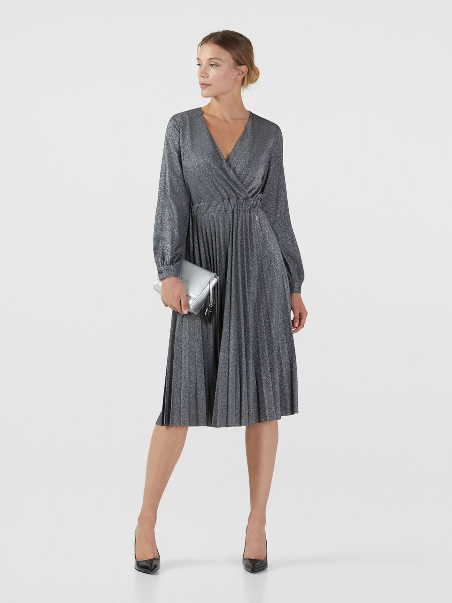Lurex jersey dress with pleated skirt