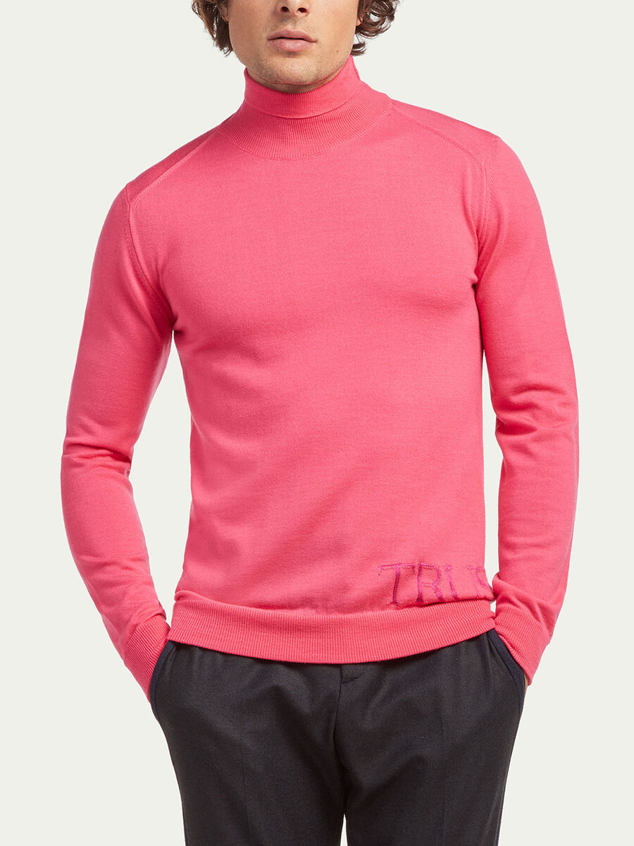 Slim fit polo neck with fine ribbing and lettering