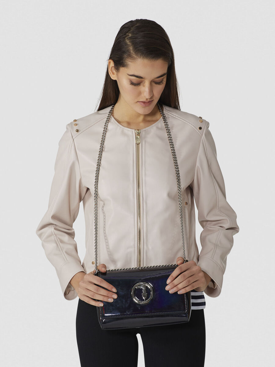 Alba crossbody bag in mirrored faux leather