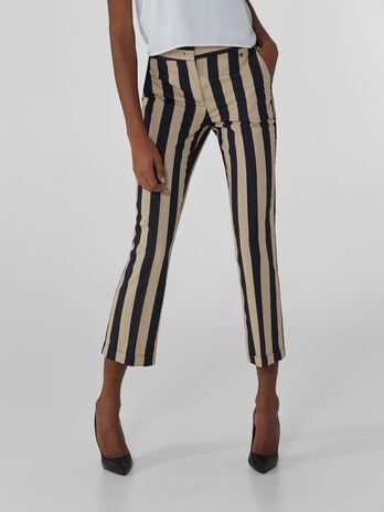 Striped viscose trousers