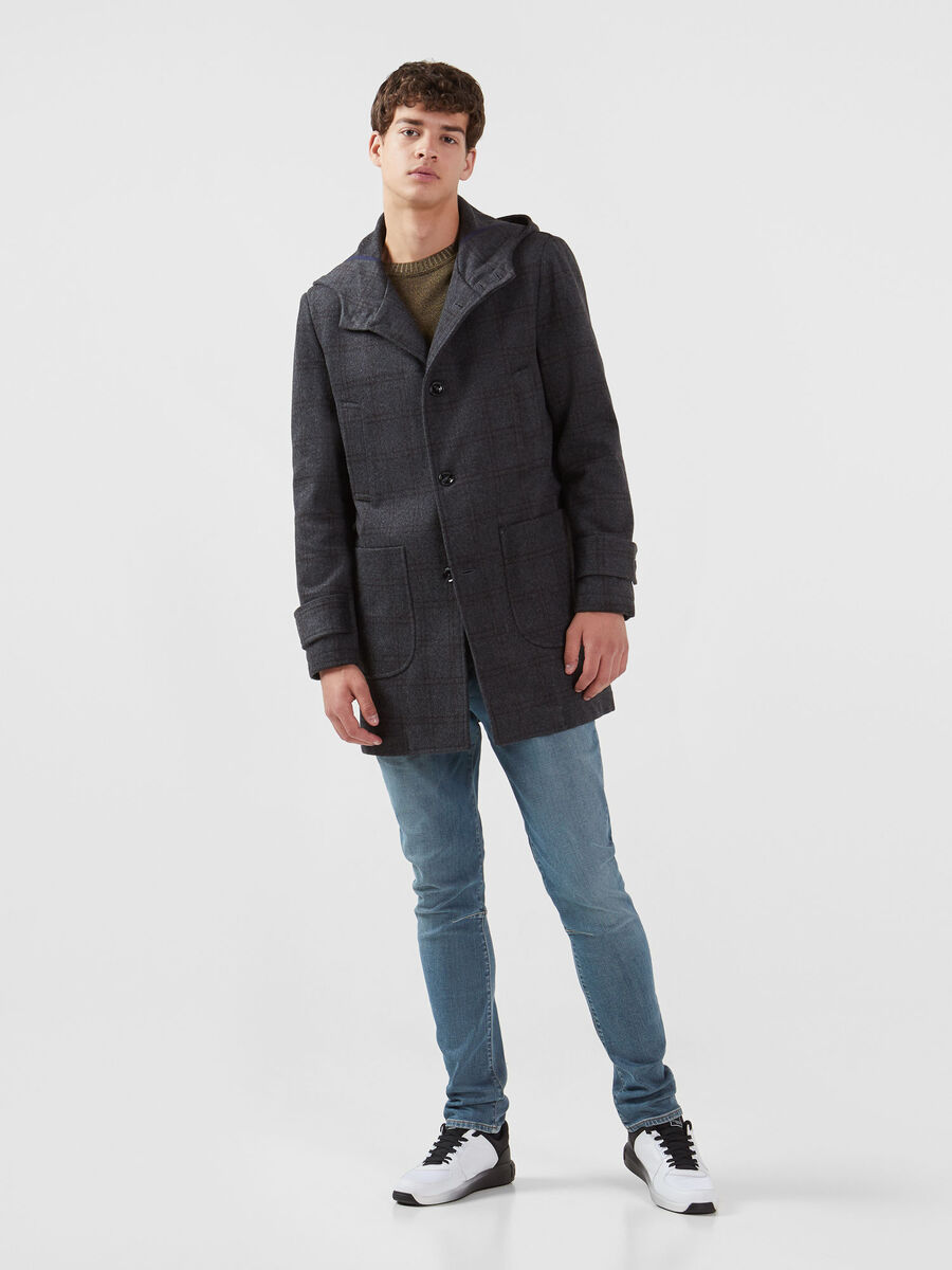 Regular fit chequered parka