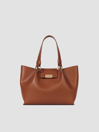 Medium smooth faux leather Madrid shopper