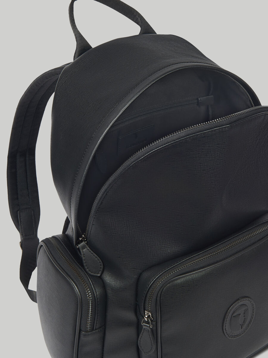 Urban backpack in faux saffiano leather