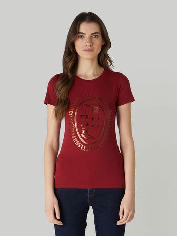 Baumwoll-T-Shirt im Slim-Fit mit Metallic-Print