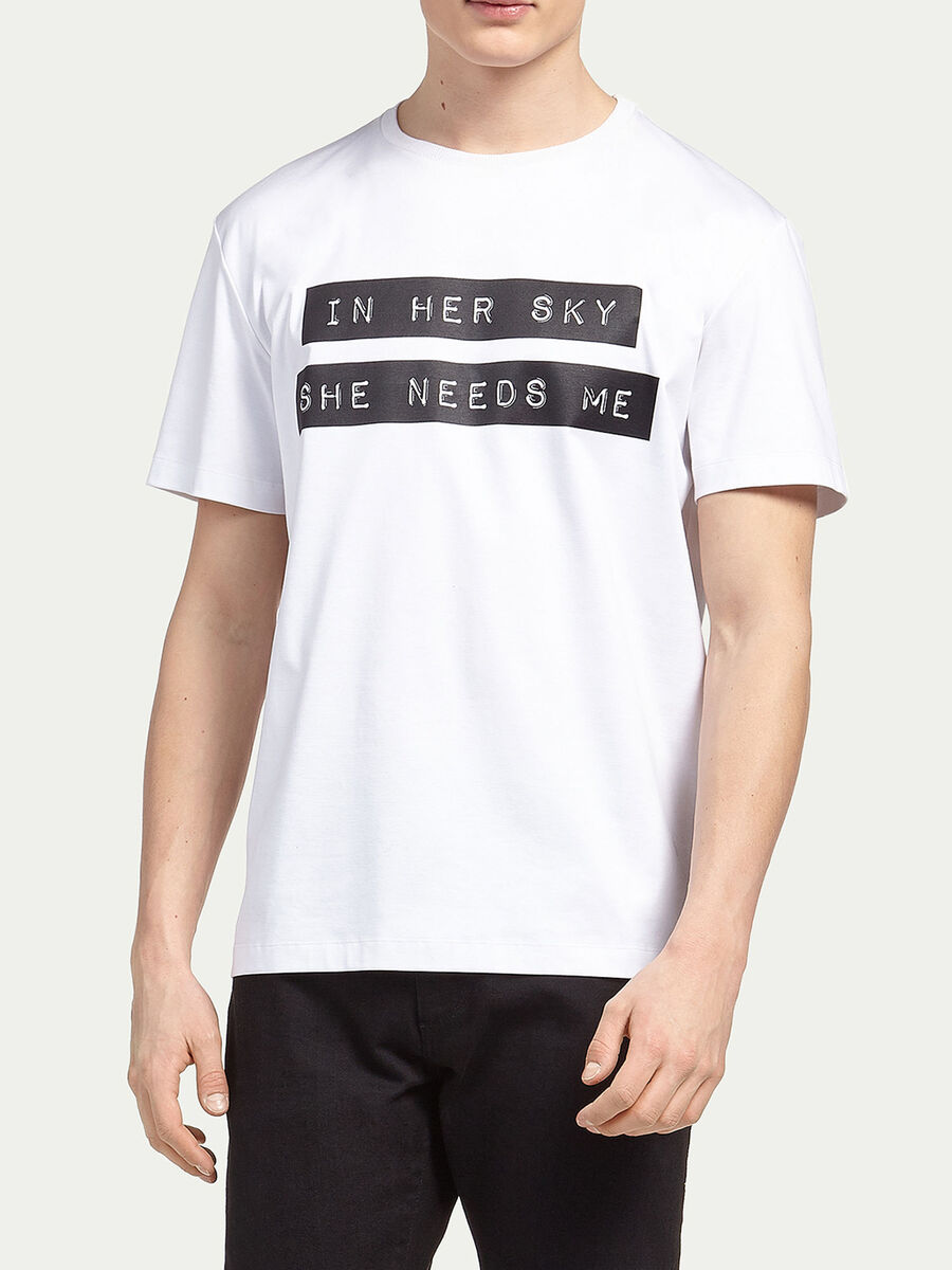 Pure cotton interlock T shirt with lettering