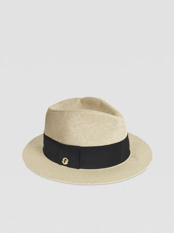 Paper yarn Panama hat with gros-grain ribbon