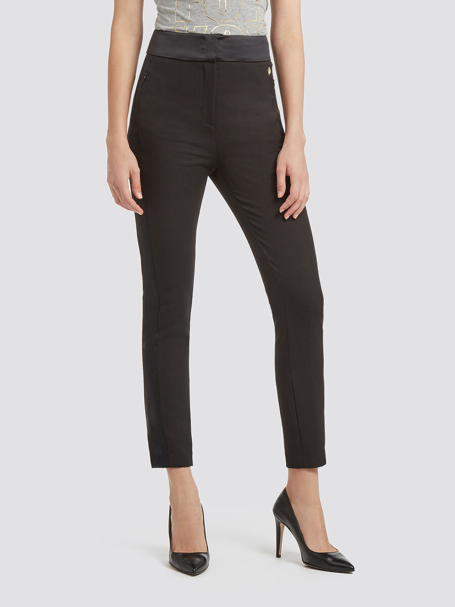 Slim fit stretch trousers with satin details