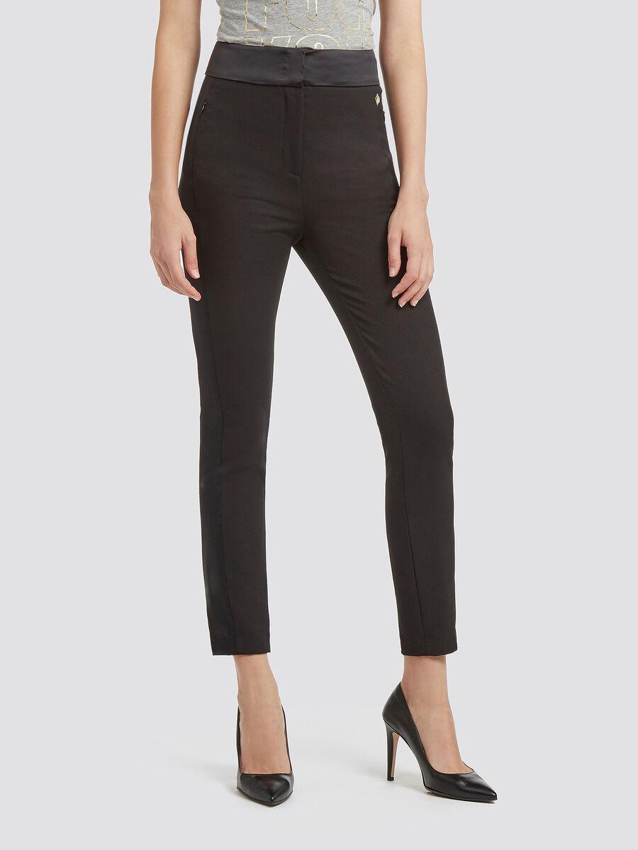 Pantalon stretch coupe slim avec details en satin