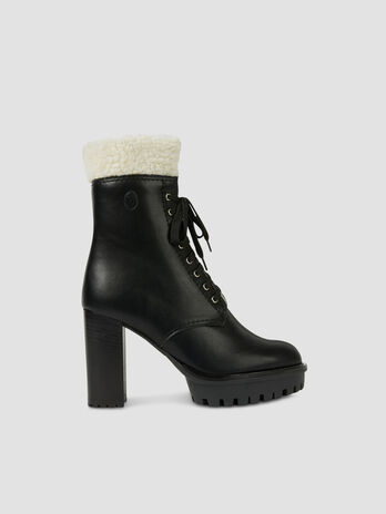 Faux leather and shearling combat boots