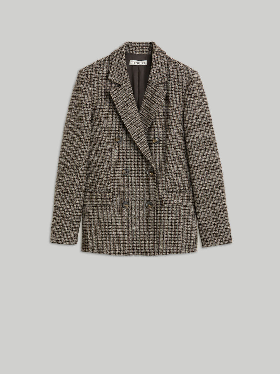 Double-breasted wool-blend chequered blazer