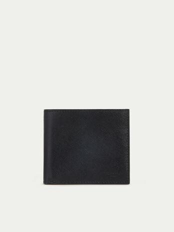 Porte cartes en cuir imprime saffiano