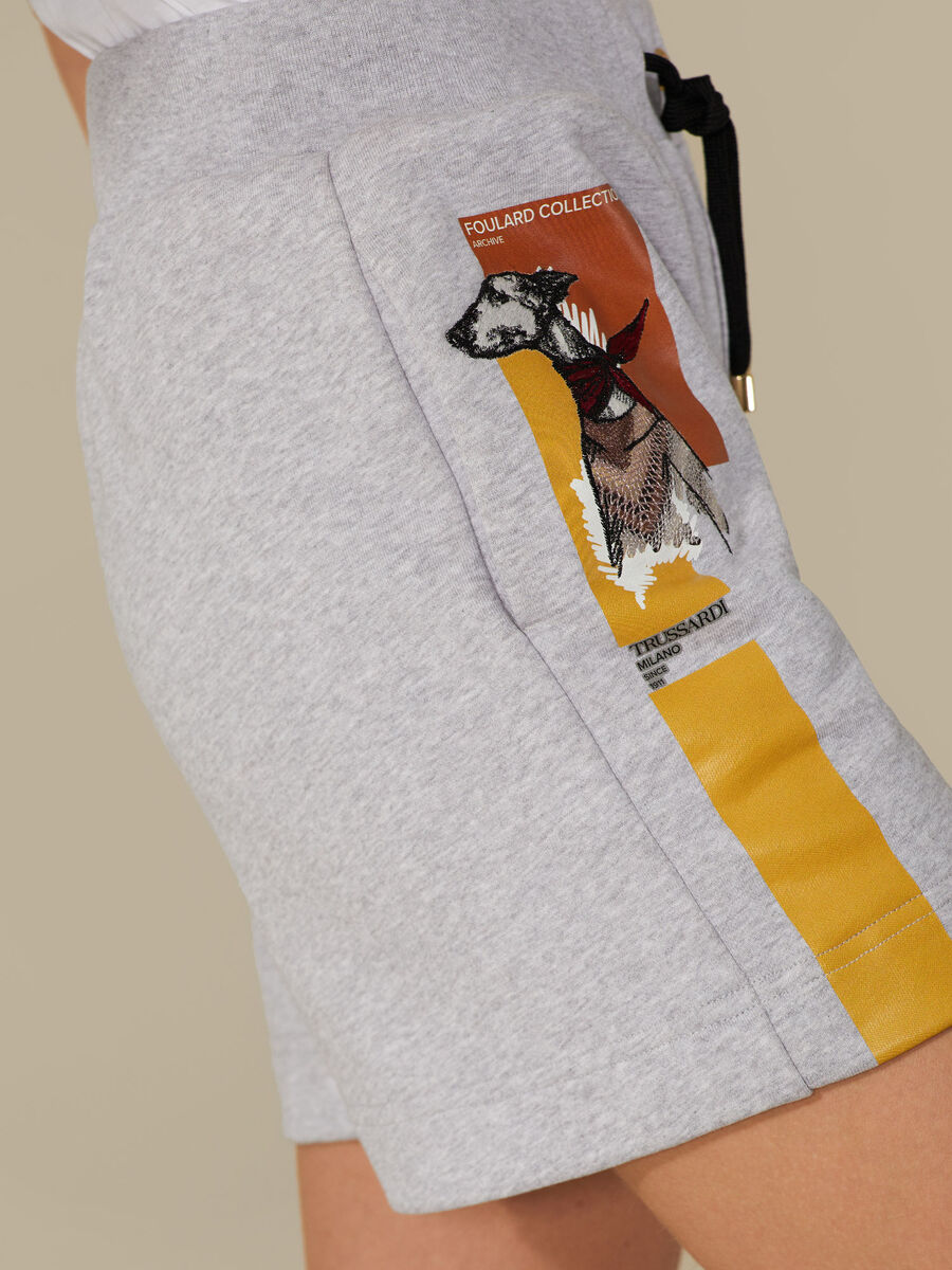Regular-fit cotton fleece shorts