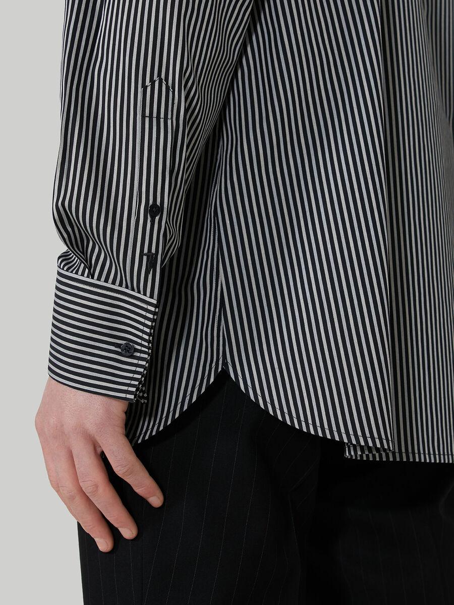 Camicia comfort fit in cotone a righe jacquard
