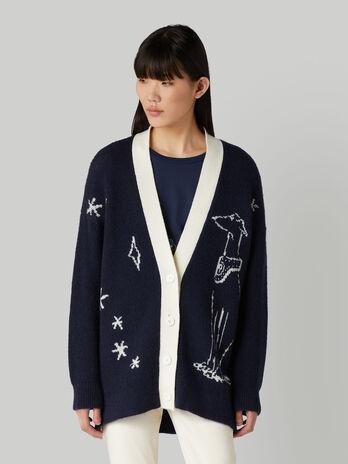 Cardigan in mohair e lana jacquard