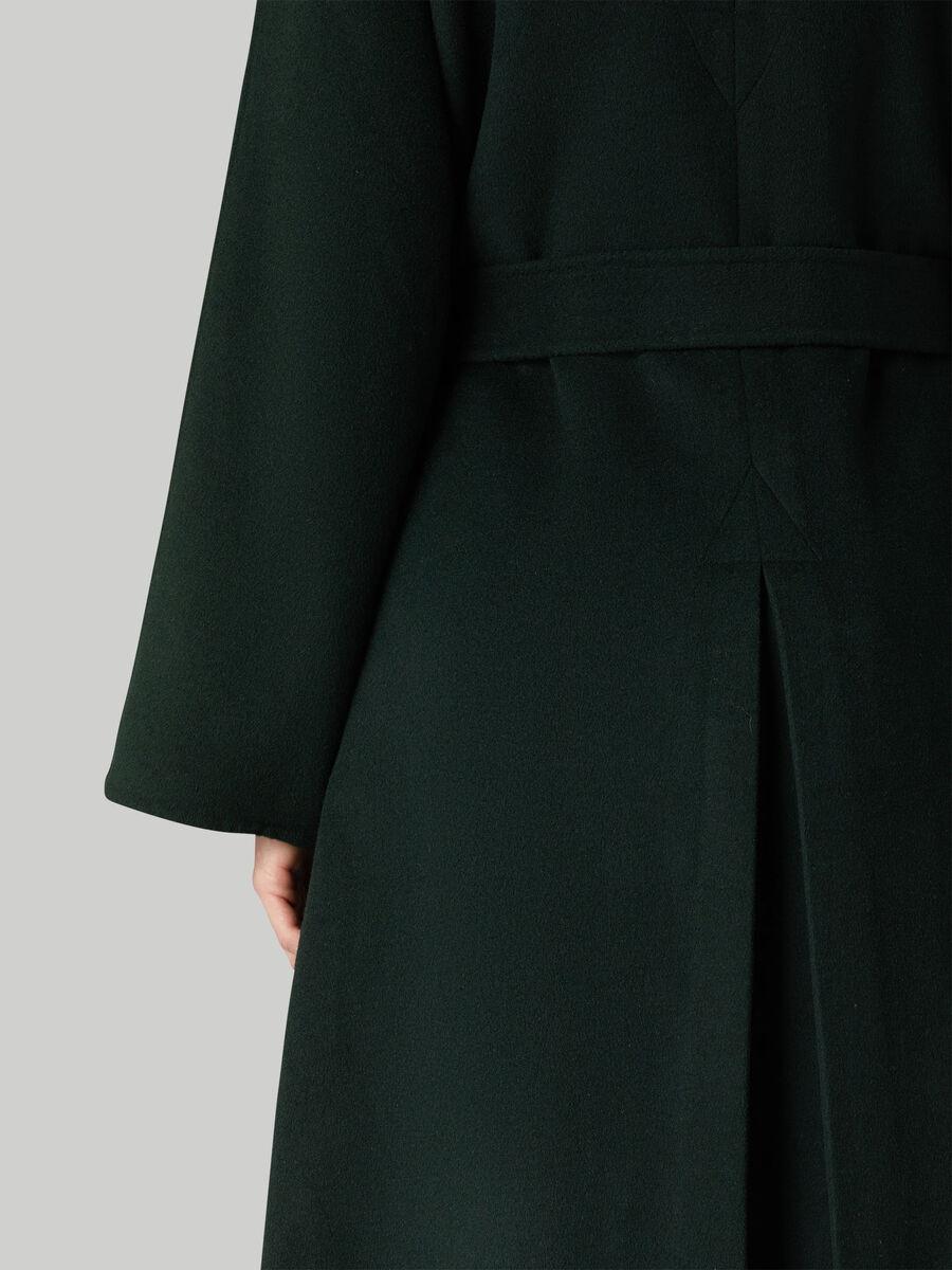 Belted woollen coat