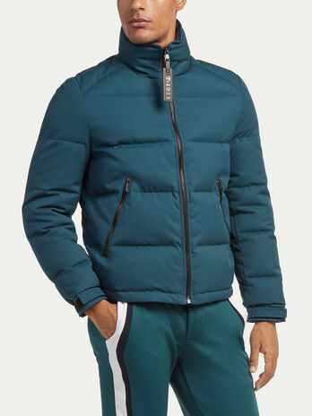 Regular fit down jacket in real duvet and gabardine