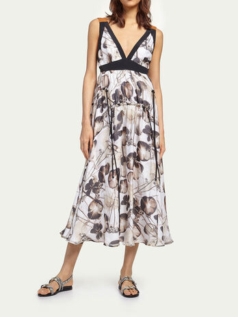 Floral dress in pure silk chiffon