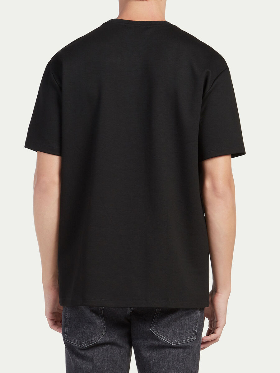 Oversized jersey T shirt leather effect breast pocket