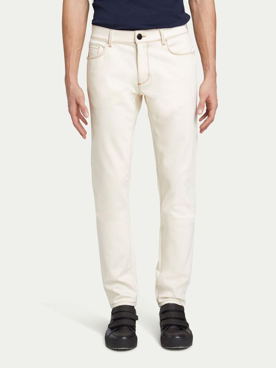 Jeans slim fit in denim tinta unita a cinque tasche