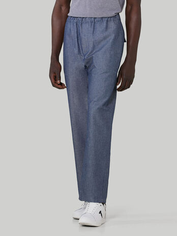 Cotton and linen denim jogging bottoms