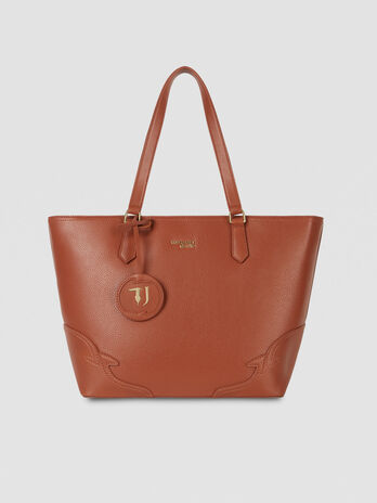 Medium Deco Edge tote bag in tumbled faux leather