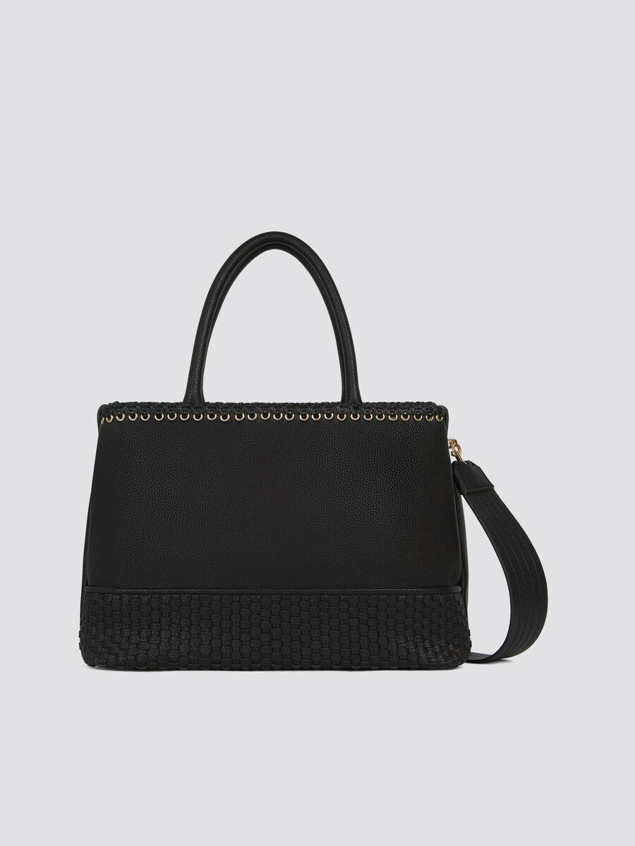 Faux leather Mimosa midi handbag with shoulder strap