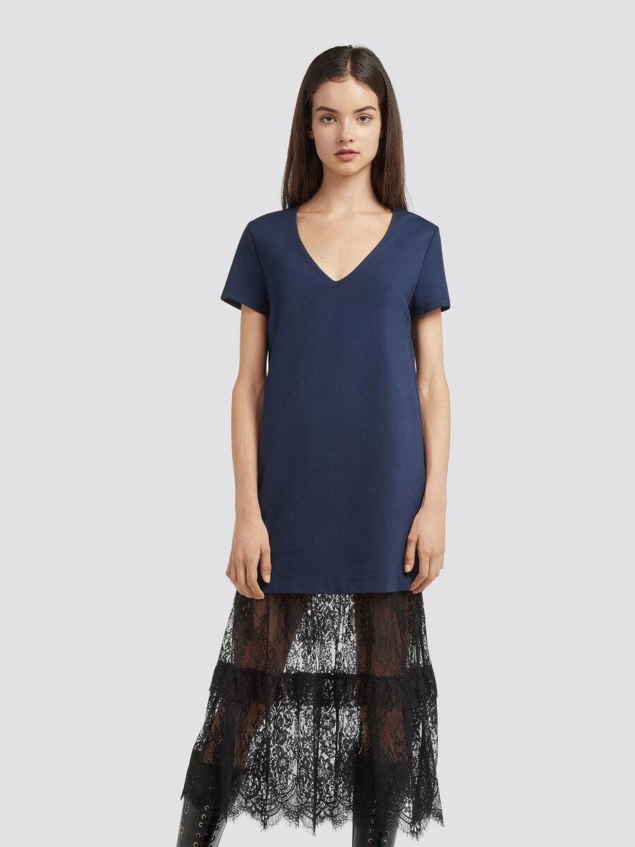 Kleid aus Jersey und Spitze mit V Ausschnitt