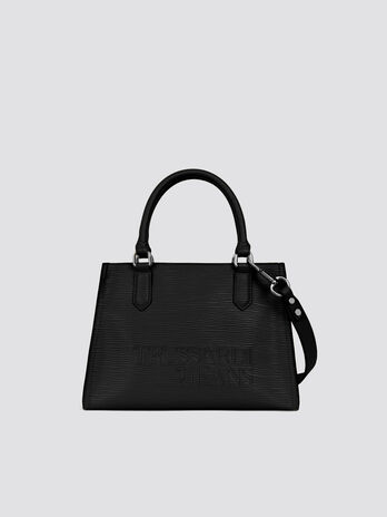 ffc93ac76172 Saffiano T-Tote midi bag lettering and shoulder strap
