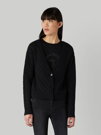 Cropped wool-blend knit cardigan