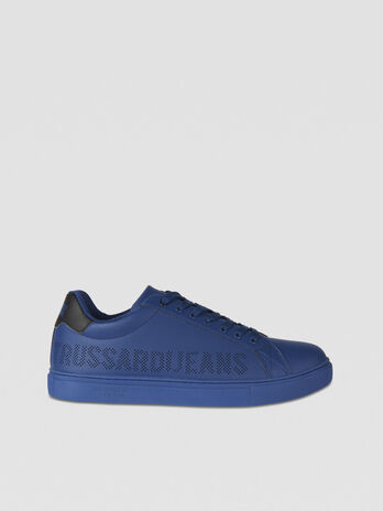 Sneakers with perforated logo