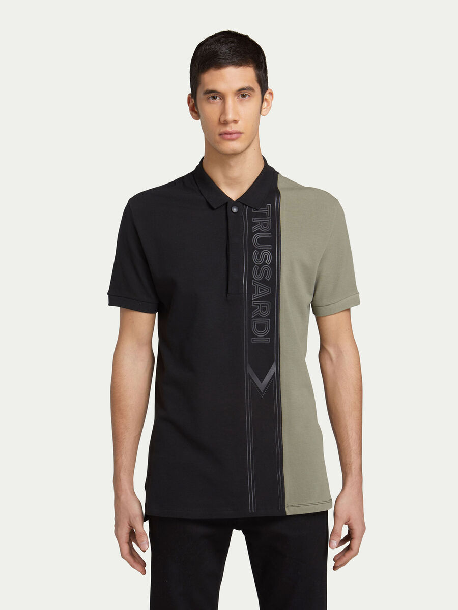 Regular fit two tone pique polo shirt with logo band
