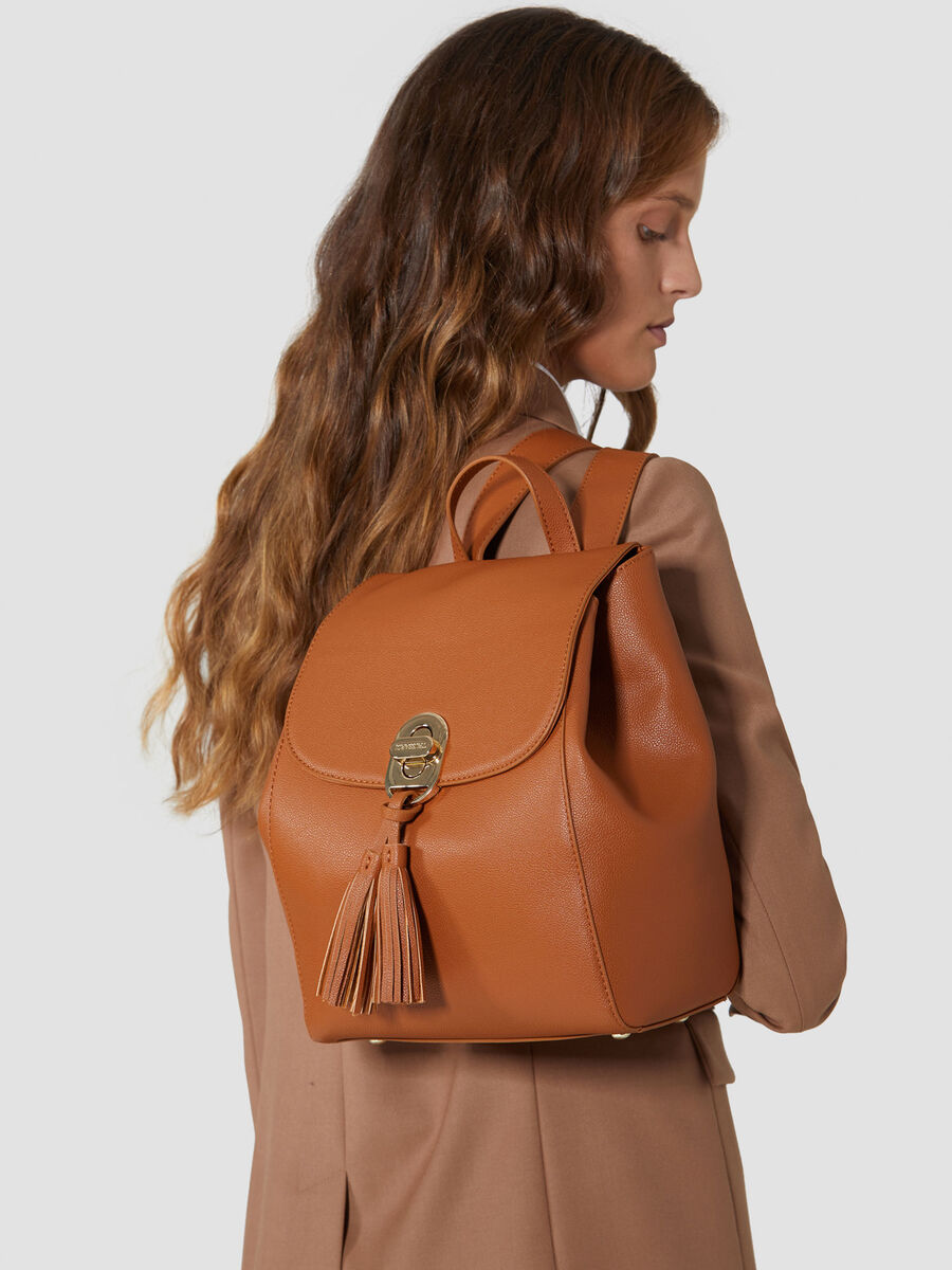 Medium faux leather Boston backpack