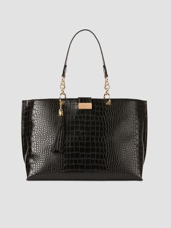 Large shopper in crocodile print faux leather