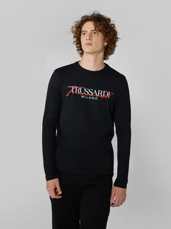 Regular fit cotton T-shirt with lettering