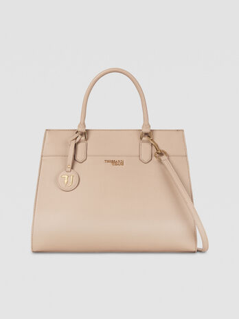 Large and light saffiano T-Easy tote with logo detail