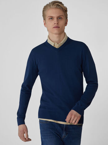Cotton V-neck pullover