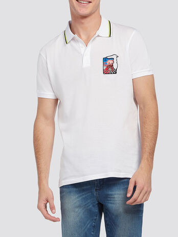 Pure cotton pique polo shirt with patch