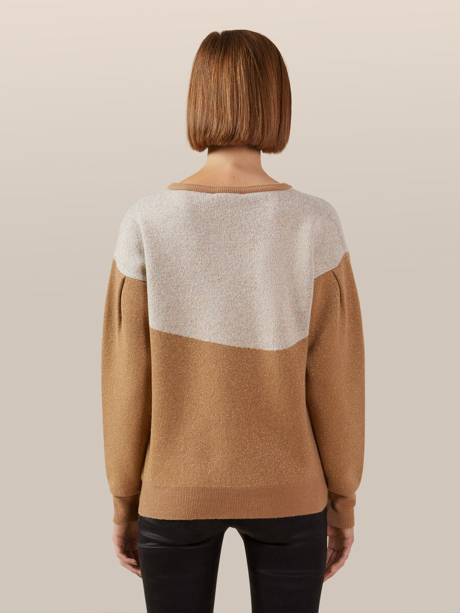 Regular fit wool and cashmere jacquard pullover
