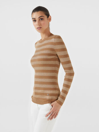 Pullover slim fit in lana e lurex