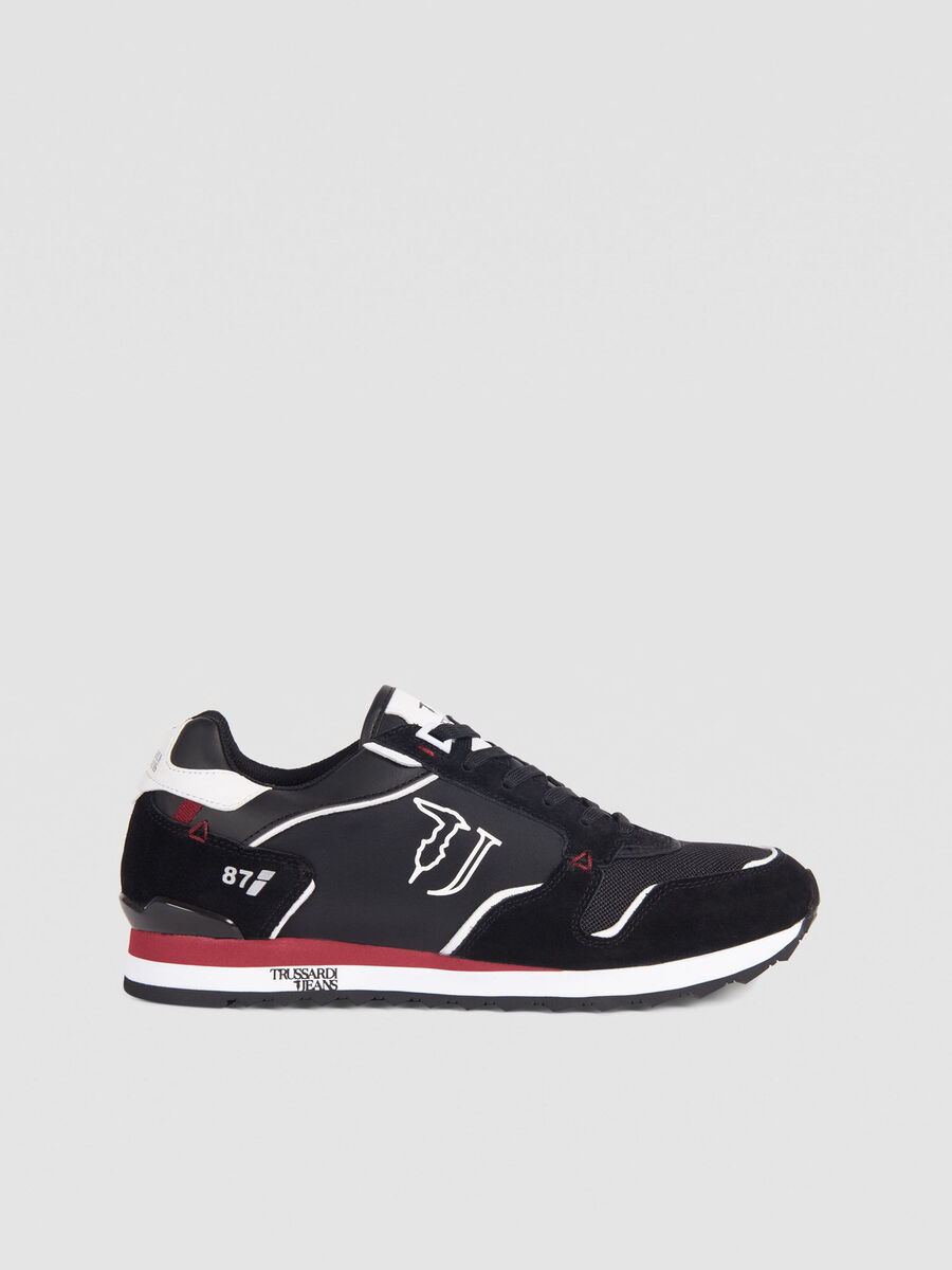 Sneakers de running en nylon a lacets et logo