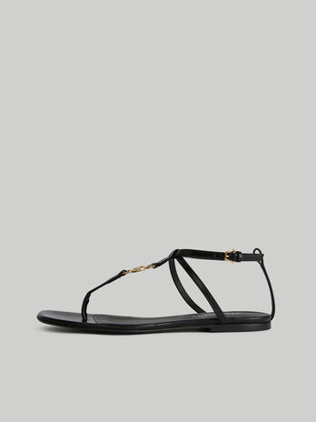 Flache T-Steg-Sandale aus Leder