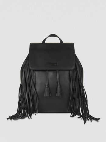 Small Ambra backpack in faux leather with fringing