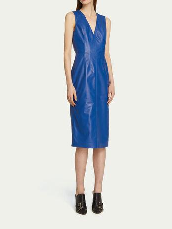 Leder Kleid im Slim Fit mit tiefem Rueckenausschnitt