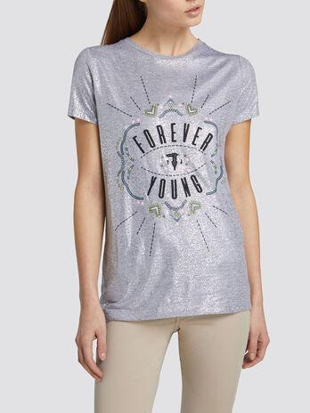 Regular fit T shirt in bright viscose jersey