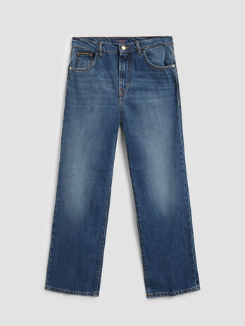 Jeans wide leg in denim tencel