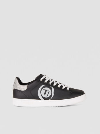 Sneakers en similicuir a logo paillete